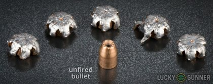 Image displaying fired .40 S&W (Smith & Wesson) rounds compared to an unfired bullet