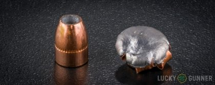 View from up above of fired Corbon .357 Magnum bullets compared to an unfired round