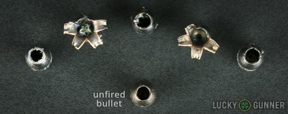 Side by side comparison of an unfired Barnes .380 Auto (ACP) bullet vs. the unfired round