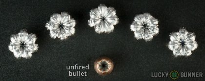 Side by side comparison of an unfired Speer .45 ACP (Auto) bullet vs. the unfired round