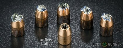 View from up above of fired PMC .40 S&W (Smith & Wesson) bullets compared to an unfired round