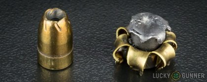 View from up above of fired Remington 9mm Luger (9x19) bullets compared to an unfired round
