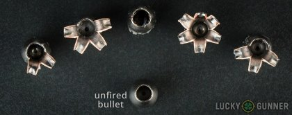 Line-up of Barnes .45 ACP (Auto) ammunition - fired vs. unfired