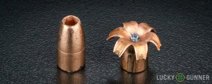Line-up of Corbon 9mm Luger (9x19) ammunition - fired vs. unfired