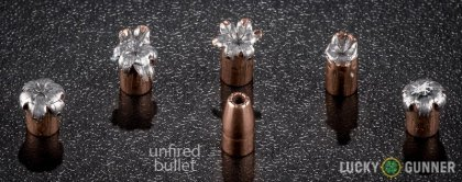 Side by side comparison of an unfired Speer .22 Magnum (WMR) bullet vs. the unfired round