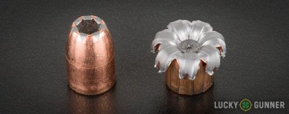Line-up of Speer .45 ACP (Auto) ammunition - fired vs. unfired