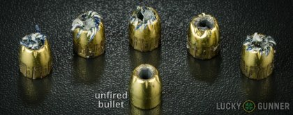 View from up above of fired Magtech .45 ACP (Auto) bullets compared to an unfired round