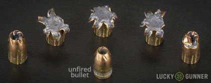 Line-up of Remington 9mm Luger (9x19) ammunition - fired vs. unfired