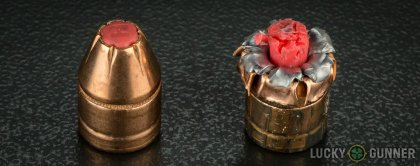Side by side comparison of an unfired Hornady .45 ACP (Auto) bullet vs. the unfired round