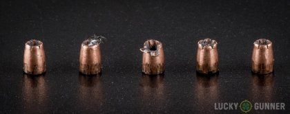 Line-up of Speer .25 Auto (ACP) ammunition - fired vs. unfired