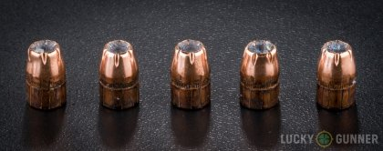 View from up above of fired Hornady .38 Special bullets compared to an unfired round