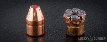Image displaying fired .38 Special rounds compared to an unfired bullet