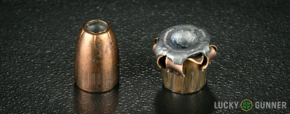 Side by side comparison of an unfired Remington 9mm Luger (9x19) bullet vs. the unfired round