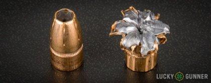 Side by side comparison of an unfired Federal 9mm Luger (9x19) bullet vs. the unfired round