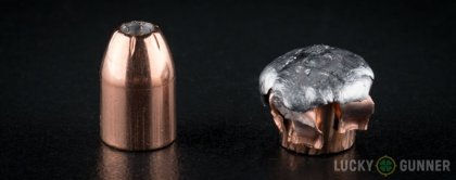 Side by side comparison of an unfired Hornady 10mm Auto bullet vs. the unfired round