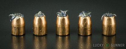 Line-up of PMC .45 ACP (Auto) ammunition - fired vs. unfired