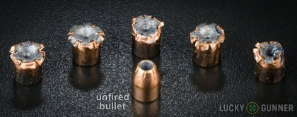 Side by side comparison of an unfired Hornady .40 S&W (Smith & Wesson) bullet vs. the unfired round