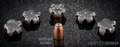 Side by side comparison of an unfired Speer .357 Sig bullet vs. the unfired round
