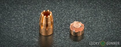 Side by side comparison of an unfired G2 Research 9mm Luger (9x19) bullet vs. the unfired round