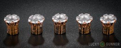 Line-up of Hornady .357 Magnum ammunition - fired vs. unfired