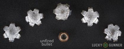 Line-up of Federal .40 S&W (Smith & Wesson) ammunition - fired vs. unfired