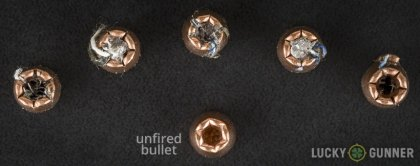 View from up above of fired Winchester .380 Auto (ACP) bullets compared to an unfired round