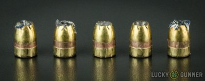 Line-up of Remington .45 ACP (Auto) ammunition - fired vs. unfired