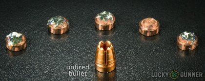 Side by side comparison of an unfired G2 Research .380 Auto (ACP) bullet vs. the unfired round