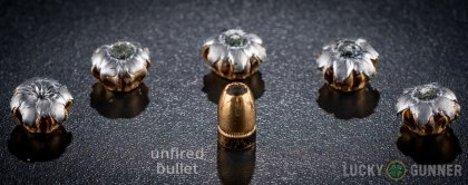 Side by side comparison of an unfired Federal .357 Sig bullet vs. the unfired round