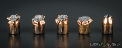 Line-up of Hornady .40 S&W (Smith & Wesson) ammunition - fired vs. unfired