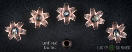 Line-up of Barnes .357 Magnum ammunition - fired vs. unfired