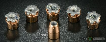 View from up above of fired Hornady .45 ACP (Auto) bullets compared to an unfired round