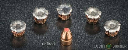 Side by side comparison of an unfired Hornady 9mm Luger (9x19) bullet vs. the unfired round