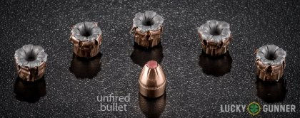 Side by side comparison of an unfired Hornady 9mm Makarov (9x18mm) bullet vs. the unfired round