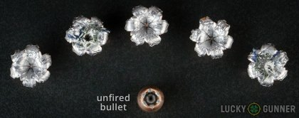 Line-up of Speer .40 S&W (Smith & Wesson) ammunition - fired vs. unfired