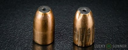 Line-up of Prvi Partizan 9mm Luger (9x19) ammunition - fired vs. unfired