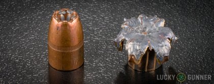 Side by side comparison of an unfired Winchester .357 Magnum bullet vs. the unfired round