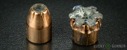Side by side comparison of an unfired Fiocchi .45 ACP (Auto) bullet vs. the unfired round