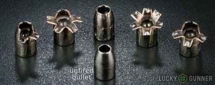 View from up above of fired Barnes .45 ACP (Auto) bullets compared to an unfired round