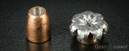 View from up above of fired Speer .45 ACP (Auto) bullets compared to an unfired round