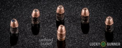 Line-up of CCI .22 Long Rifle (LR) ammunition - fired vs. unfired