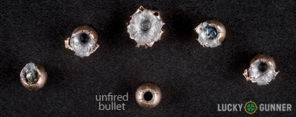 View from up above of fired Corbon .32 Auto (ACP) bullets compared to an unfired round