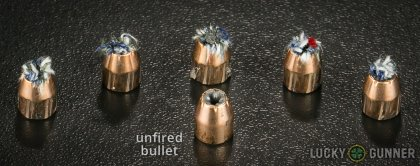 Line-up of PMC .380 Auto (ACP) ammunition - fired vs. unfired