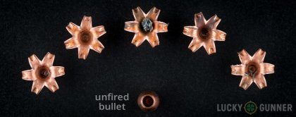 Line-up of Barnes 10mm Auto ammunition - fired vs. unfired