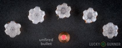 Side by side comparison of an unfired Hornady .38 Special bullet vs. the unfired round