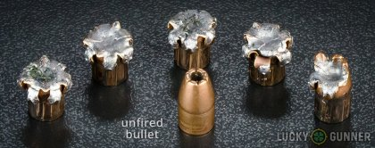 Line-up of Winchester 9mm Luger (9x19) ammunition - fired vs. unfired