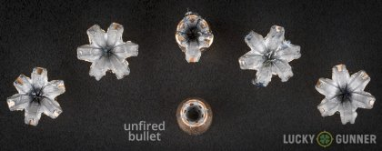 Side by side comparison of an unfired Magtech .45 ACP (Auto) bullet vs. the unfired round