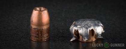 Side by side comparison of an unfired Winchester .357 Sig bullet vs. the unfired round