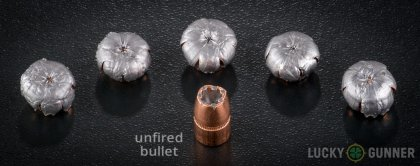 View from up above of fired Speer .357 Magnum bullets compared to an unfired round