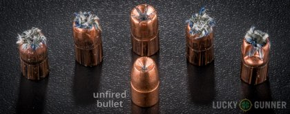 Side by side comparison of an unfired Speer .357 Magnum bullet vs. the unfired round